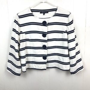Anne Klein Stripe Jacket 14P 76% Linen